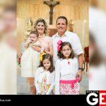 La familia Cárdenas Avilés felices en el bautizo del pequeño Enrique