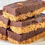 Fáciles e irresistibles:  Barras de avena, chocolate y mantequilla de maní (sin hornear)